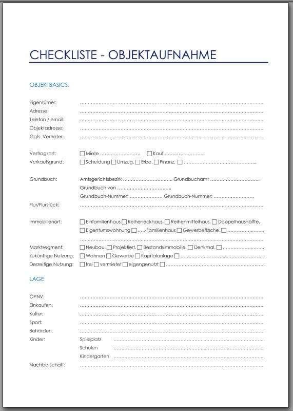 Checkliste - Objektaufnahme