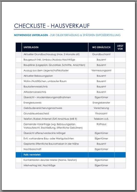 Checkliste - Unterlagen Hausverkauf