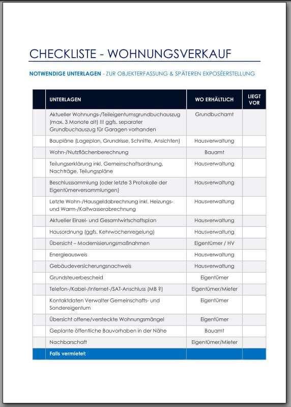Checkliste - Unterlagen Wohnungsverkauf